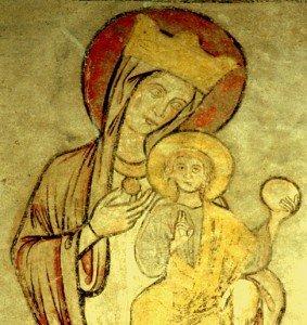 Nimbe rouge a la vierge a l'enfant de Chamaliéres sur Loire (Haute Loire) Fin d'époque romane