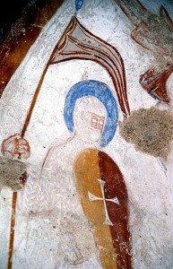 St Georges ,patron des croisé.AU dessus apparait une main divine