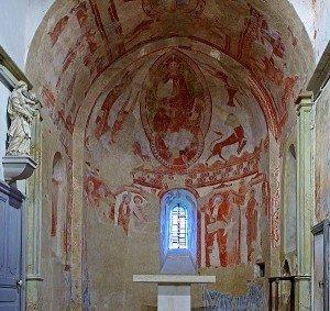 ensemble des peintures du XII ieme siécle de l'abside et du choeur