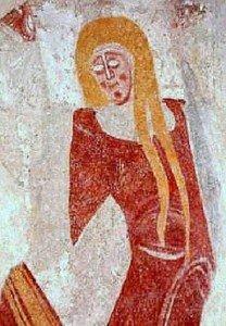 Image d'une femme non identifiée au registre inférieur du mur sud