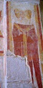 Evéque au pilier sud de l'arc d'entrée