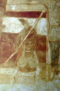 St Pierre les églises,le porte lance Longinus identifié par une inscription