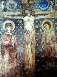 Fresque XIII iéme siécle de la crucifixion à la chapelle dite des morts du cloitre de la cathédrale du Puy