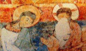Détail de la création;Dieu et Christ au nimbe crucifére