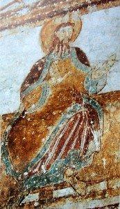 Belle image d'un saint non identifié au regitre supérieur de la premiére travée du bas coté nord