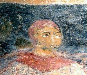 Visage d'un personnage anonyme (Mur des bas cotés de la nef)