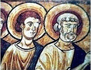 Détail de deux des apotres encadrant la Vierge.Le second jeune et imberbe est probablement Jean