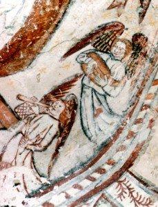 Anges musiciens du XV iéme siécle à l'intérieur de la mandorle du Christ