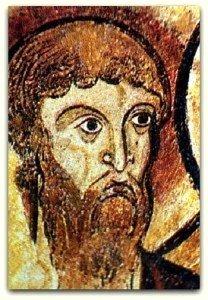 Visage de l'un de apotres,souligné d'un épais trés noir caractéristique de la peiture de fin d'époque romane et du début du XIII ième siécle