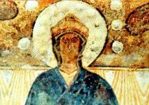 Détail de la vierge,hiératique,selon une tradition toute byzantine