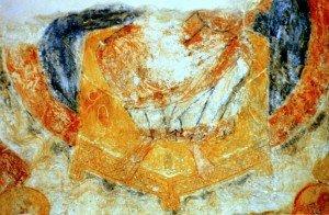 La partie inférieure du Christ sur son trone
