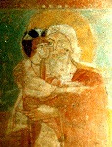 Détail du vieillard Siméon tenant l'enfant Jésus
