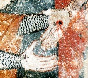 Détail de la descente de croix (la main du Christ)