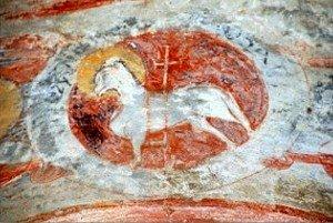 L'agneau accompagné d'une inscription aux fresques extérieurs de Notre Dame de Riquer à Catllar