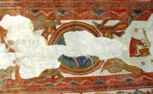 Agneau trés dégradé à la voute de St Junien entre deux rangées de Vieillards