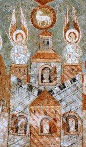 l'Agneau de Dieu dans son médaillon surplombe la Jerusalem celeste à St Chef