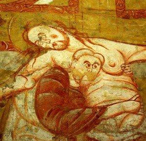 Joseph d'Arimathie soutenant le Christ (détail de la descente de croix)